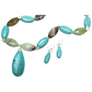 Blue Stone and Amazonite Sterling Silver Necklace Set (Thailand)