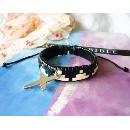 Leather Knitted Bracelet with Cross (China)