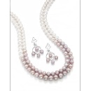 Wonderful 2-row white to pink 18K necklace with matching earrings  (Hong Kong)