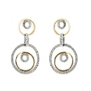 18K White Gold and Yellow Gold Earring with Diamonds (Thailand)