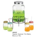 2 Gallon Mason Glass Jar Beverage Dispenser With Stand	 (China)