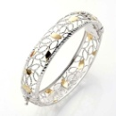Sterling Silver Oval Hinge Bangles Filigree & Diamond Cut 14K Gold/Rhodium Plated (Thailand)