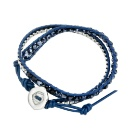 Double Wrap Bracelet with Faceted Blue Glass Beads & Stainless Steel Buckle on Genuine Blue Leather  (Hong Kong)