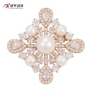 Xuping Fashion Luxury Gold-Plated CZ Pearls Flower-Shaped Jewelry Element Brooch -00010 (China)