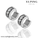 92333 Fashion Xuping Black -White Cool Stainless Steel Jewelry Earring Huggie in Promotion (Mainland China)