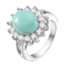 Turquoise Ring Fashion Jewelry Sparkling and Elegant Cubic Zirconia Rings for Women (China)