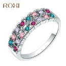 White Gold Plated Ring with Colorful Diamond (China)