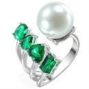 Cubic Zirconia Pearl Emerald Ring (China)