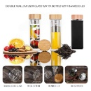 Double Wall Glass Water Bottle with Bamoo Lid (Hong Kong)