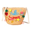 Sequin Embroidered Straw Bag with Pom Pom (China)
