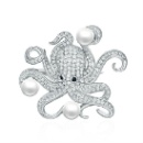 925 Silver Octopus Brooch (China)