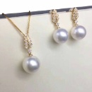 White Freshwater Pearl 18K Necklace & Earrings Set (Hong Kong)