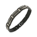 Two Tone Stainless Steel Bracelet with Black Diamonds (Mainland China)