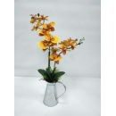 Artificial Flower Orchid Arrangement in Metal Pot (Hong Kong)