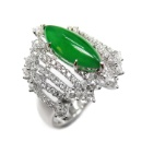 18K W/G Natural Jadeite & Diamond Ring (Hong Kong)