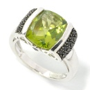 925 Sterling Silver Black Spinel and Peridot Ring (Hong Kong)