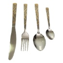 Set of 4 Cutlery Set with Gold Color Handle (Hong Kong)