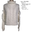Ladies' cable knitted sweater with tassel on sleeve (Mainland China)