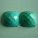 20 x 10mm gemstone cabochon faceted square in natural turquoise (China)