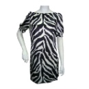 Shirt Waist Dress with Zebra Print and Scoop Neckline (China)