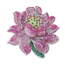 White and Brown Diamond with Pink Sapphire and Green Garnet Pendant/Brooch (Hong Kong)