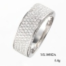 Micro Pave Setting 925 Sterling Silver Ring with CZ (Hong Kong)