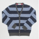 Striped Vee Neck Cardigan (Hong Kong)