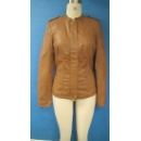Ladies' Long Sleeves PU Leather Jacket in Beige Color (Hong Kong)