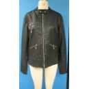 Ladies' Long Sleeves PU Leather Jacket in Black Color (Hong Kong)