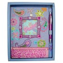 note book with ball pen, art paper cover with beads decorated & photo holder (China)