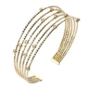 Sterling Silver Round Cuff Bangle Diamond Cut 14K Gold Plated Crystal (Thailand)