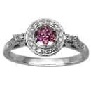 14K White Gold Brazilian Garnet with Diamonds Ring (Hong Kong)