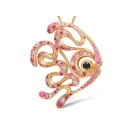 18K Gold Pendant with Pink Sapphire, Ruby, Diamond and Black Diamond (Hong Kong)