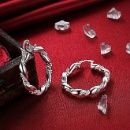 Twisted Hoop Earring 925 with Rhodium Plated  (China)