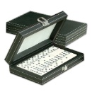 Plastic Professional Domino Set with PVC Leather Box (Taiwan)